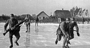 Dutch soldiers training ice skates world war II