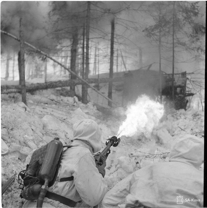 finland soldier flamethrower ww2