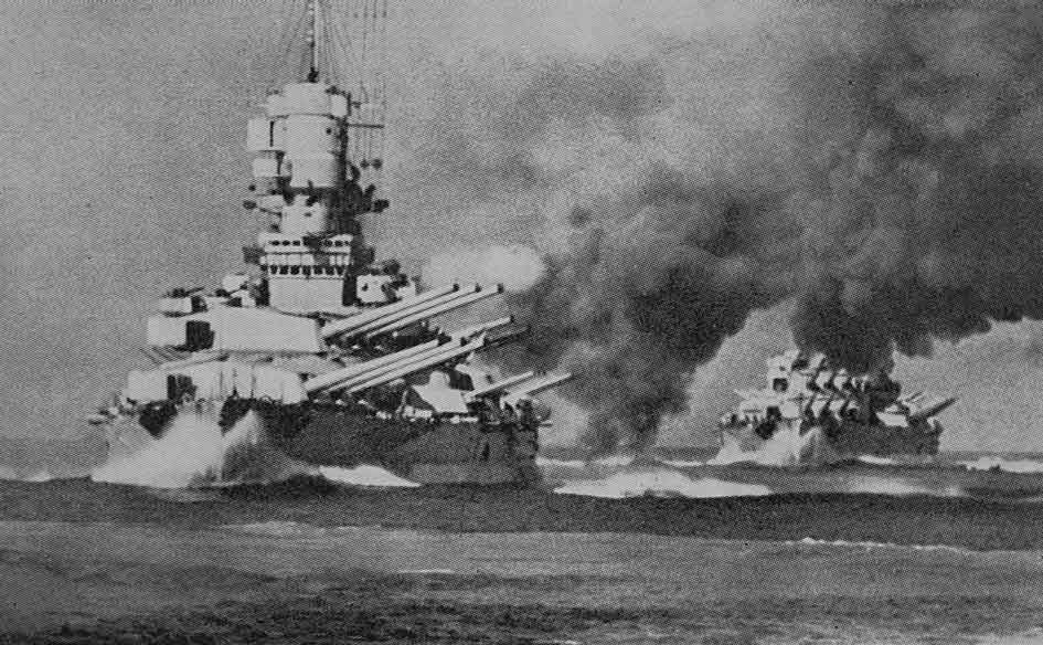 italian battleships firing