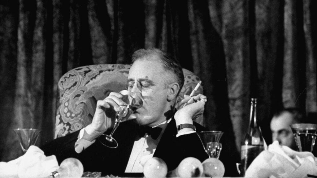 franklin roosevelt smoking drinking wine
