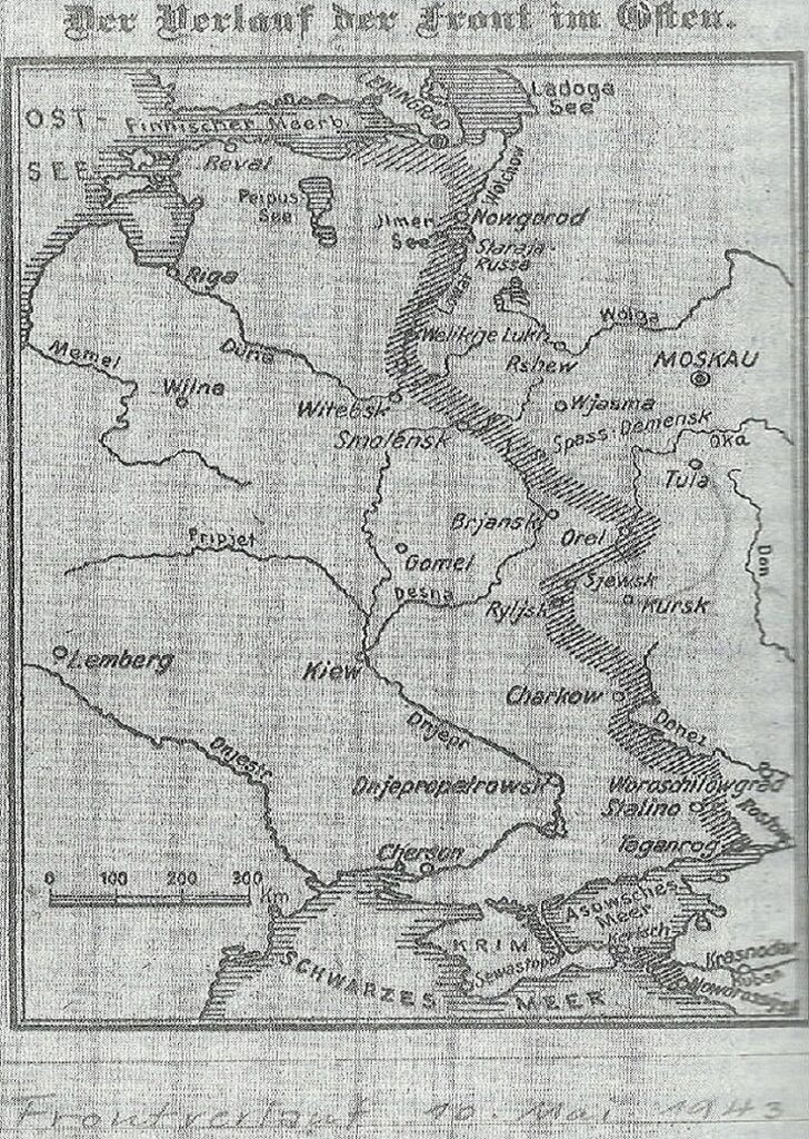 world war ii eastern front map of german front