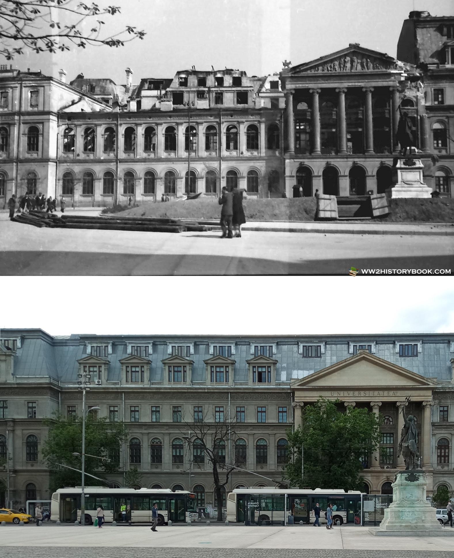 palatul universitatii atunci si acum bombardament