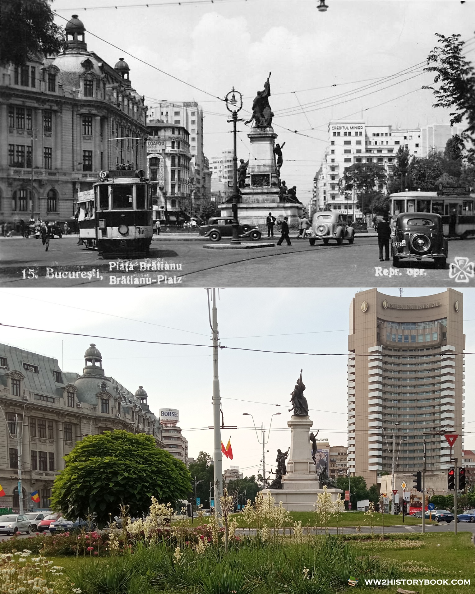 university square bucharest then and now